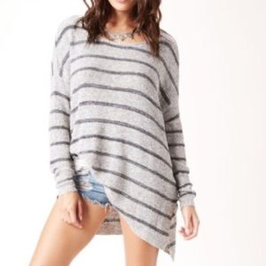 Free People Oversized Striped Tunic Sweater